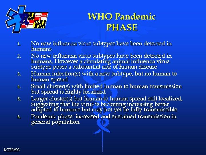 WHO Pandemic PHASE 1. 2. 3. 4. 5. 6. MIEMSS No new influenza virus