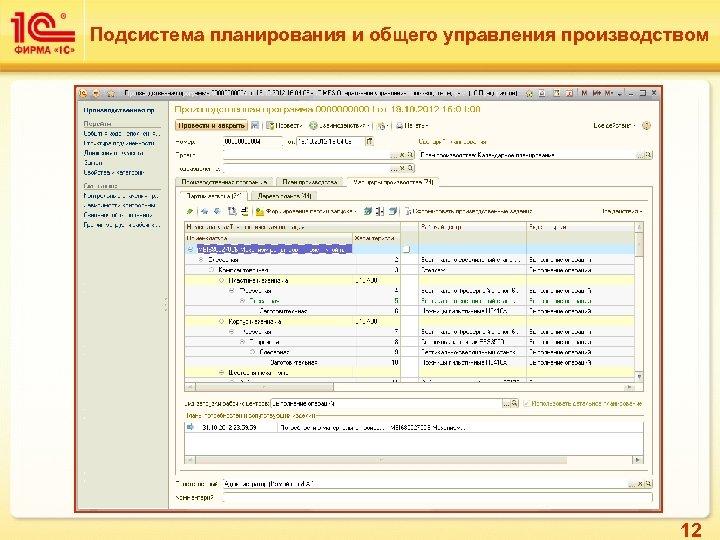 Подсистема планирования и общего управления производством 12