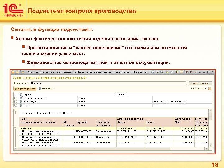 Подсистема контроля производства Основные функции подсистемы: § Анализ фактического состояния отдельных позиций заказов. §