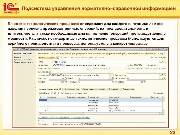 Подсистема управления нормативно–справочной информацией Данные о технологических процессах определяют для каждого изготавливаемого изделия перечень