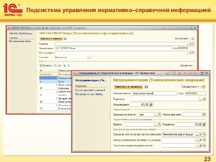 Подсистема управления нормативно–справочной информацией 23
