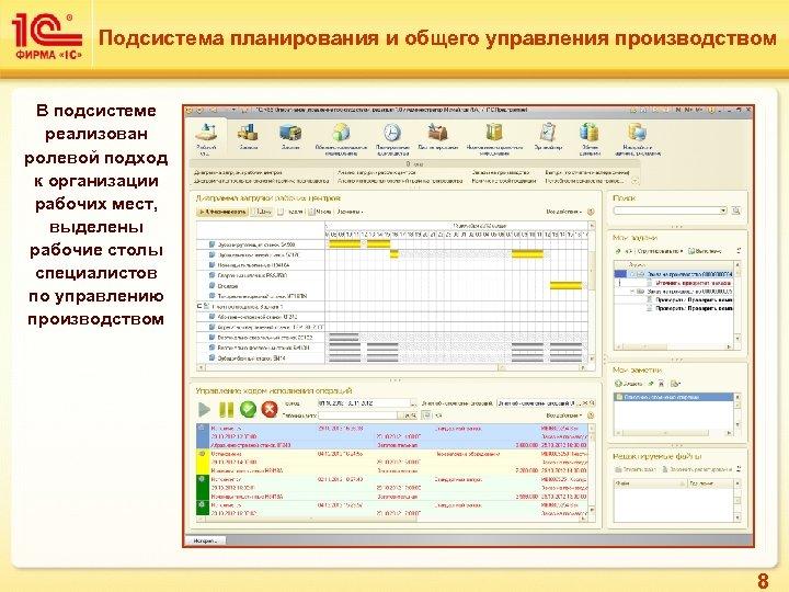Подсистема планирования и общего управления производством В подсистеме реализован ролевой подход к организации рабочих