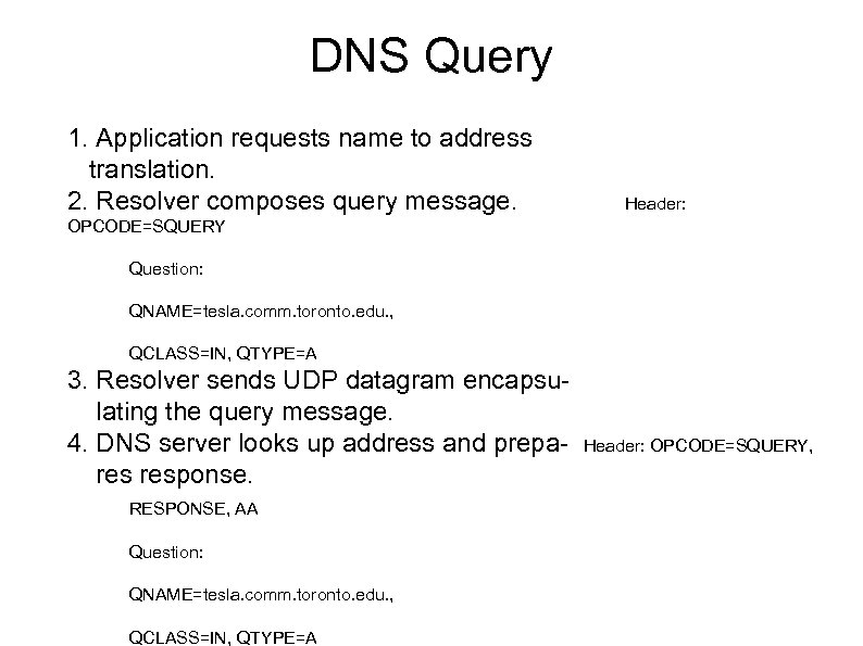 DNS Query 1. Application requests name to address translation. 2. Resolver composes query message.