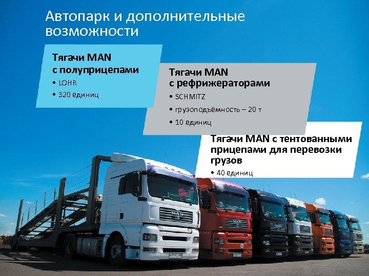Автопарк и дополнительные возможности Тягачи MAN с полуприцепами • LOHR • 320 единиц Тягачи