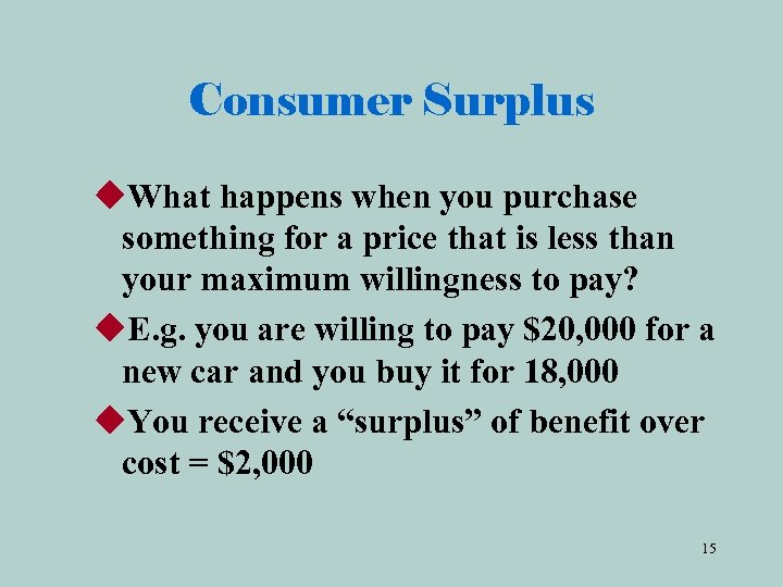 Consumer Surplus u. What happens when you purchase something for a price that is