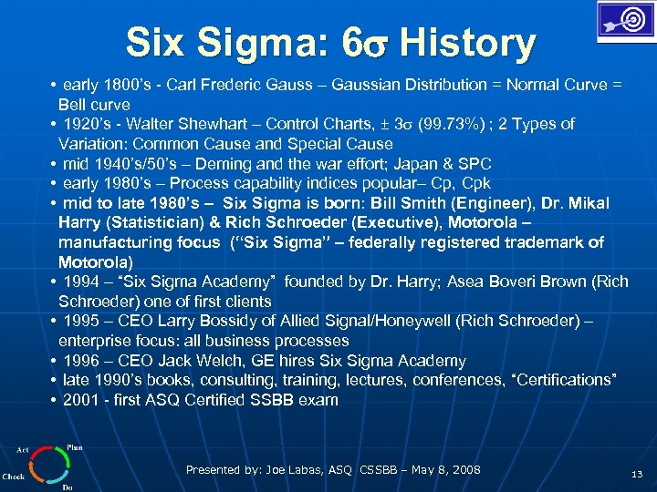 Six Sigma: 6 History • early 1800's - Carl Frederic Gauss – Gaussian Distribution