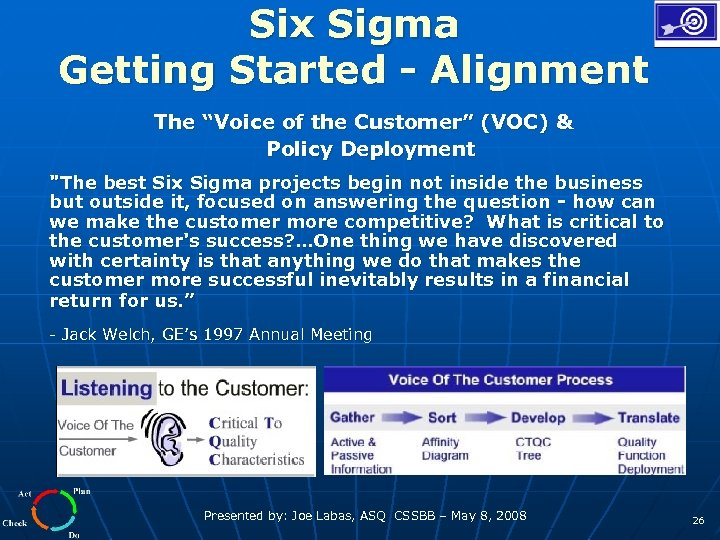 """Six Sigma Getting Started - Alignment The """"Voice of the Customer"""" (VOC) & Policy"""