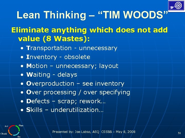 """Lean Thinking – """"TIM WOODS"""" Eliminate anything which does not add value (8 Wastes):"""