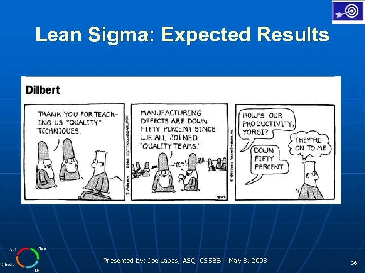Lean Sigma: Expected Results Presented by: Joe Labas, ASQ CSSBB – May 8, 2008