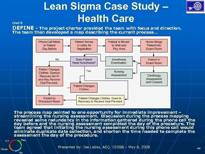 Cont'd Lean Sigma Case Study – Health Care DEFINE - The project charter provided