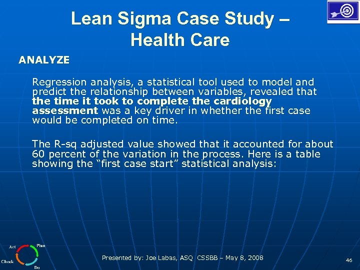 Lean Sigma Case Study – Health Care ANALYZE Regression analysis, a statistical tool used