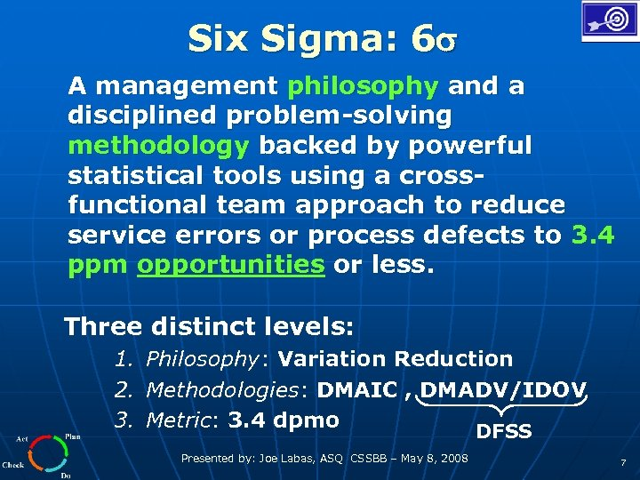 Six Sigma: 6 A management philosophy and a disciplined problem-solving methodology backed by