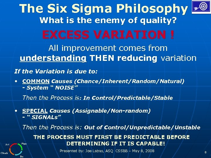 The Six Sigma Philosophy What is the enemy of quality? EXCESS VARIATION ! All