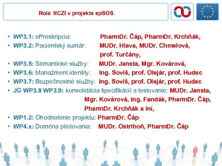 Rola NCZI v projekte ep. SOS. • WP 3. 1: e. Preskripcia: • WP