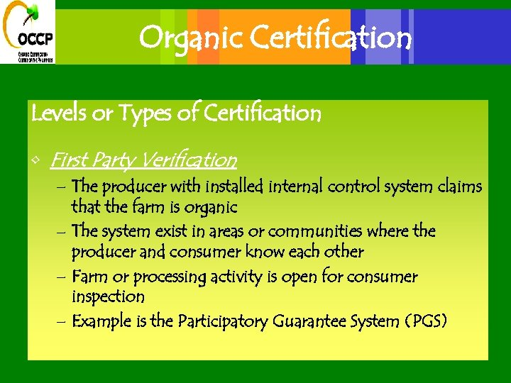Organic Certification Levels or Types of Certification • First Party Verification – The producer