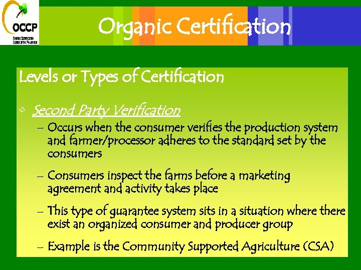 Organic Certification Levels or Types of Certification • Second Party Verification – Occurs when