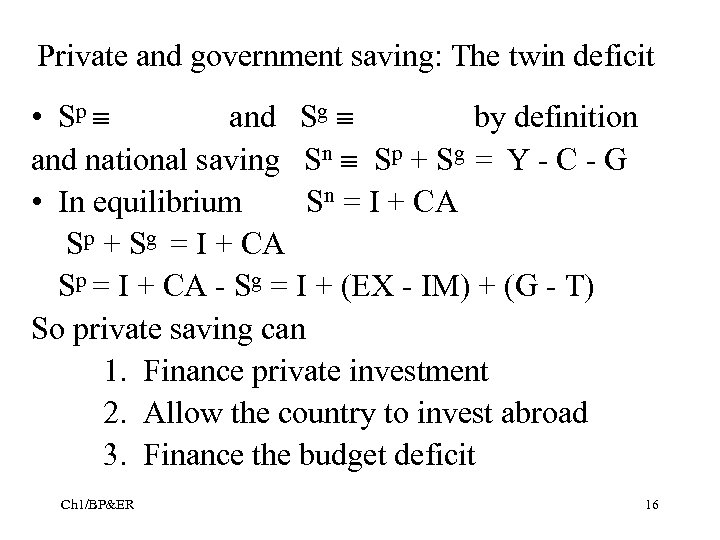 Private and government saving: The twin deficit • Sp and Sg by definition and