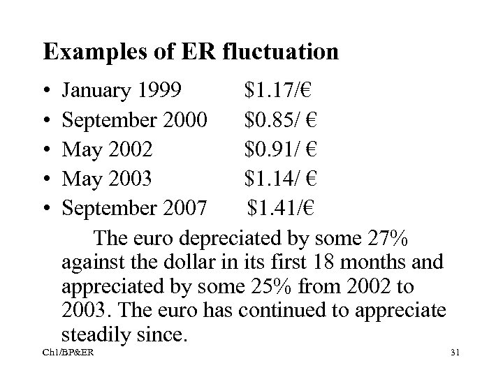 Examples of ER fluctuation • • • January 1999 $1. 17/€ September 2000 $0.