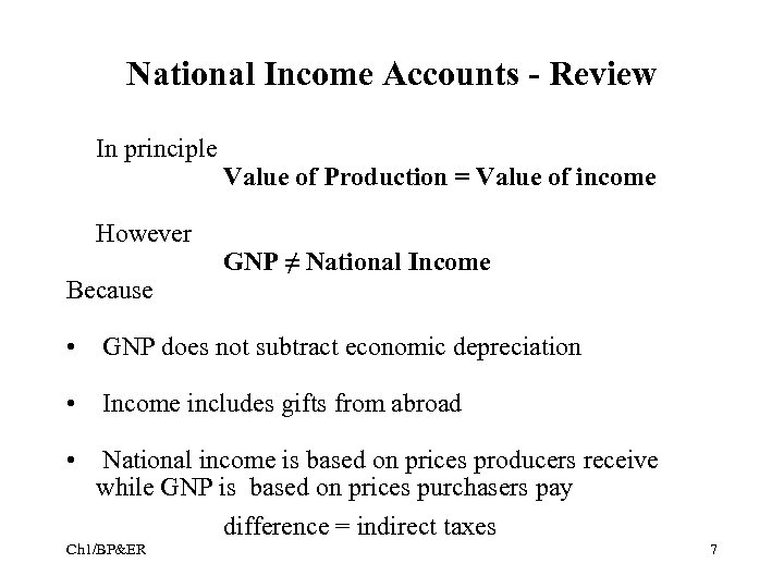 National Income Accounts - Review In principle However Because Value of Production = Value