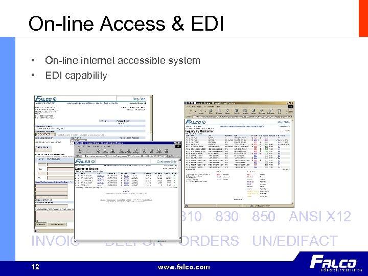 On-line Access & EDI • On-line internet accessible system • EDI capability 810 830