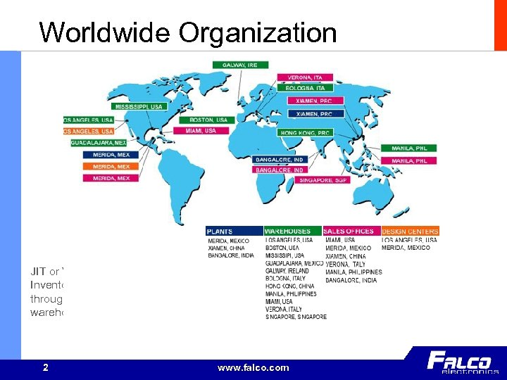 Worldwide Organization JIT or Vendor Managed Inventory support through third party warehousing 2 www.