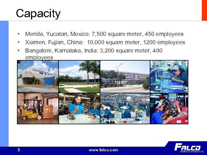 Capacity • Merida, Yucatan, Mexico: 7, 500 square meter, 450 employees • Xiamen, Fujian,