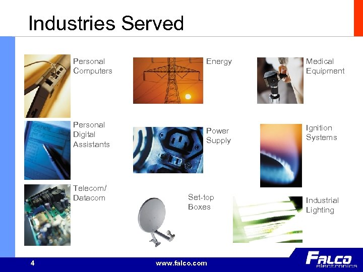 Industries Served Personal Computers Personal Digital Assistants Telecom/ Datacom 4 Energy Medical Equipment Power