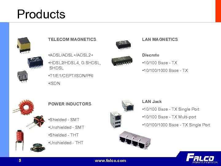 Products TELECOM MAGNETICS LAN MAGNETICS • ADSL/ADSL+/ADSL 2+ Discrete • HDSL 2/HDSL 4, G.