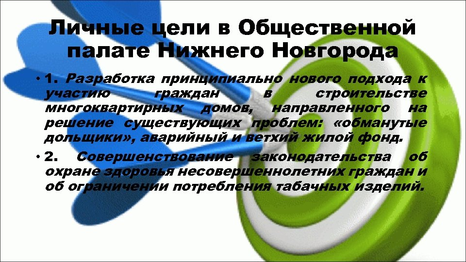 Личные цели в Общественной палате Нижнего Новгорода • 1. Разработка принципиально нового подхода к