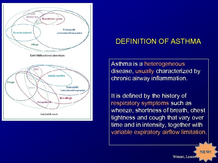 DEFINITION OF ASTHMA Asthma is a heterogeneous disease, usually characterized by chronic airway inflammation.