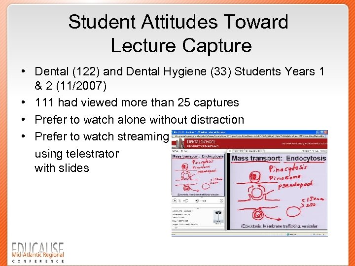 Student Attitudes Toward Lecture Capture • Dental (122) and Dental Hygiene (33) Students Years