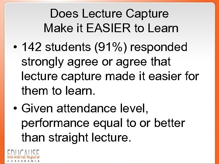 Does Lecture Capture Make it EASIER to Learn • 142 students (91%) responded strongly