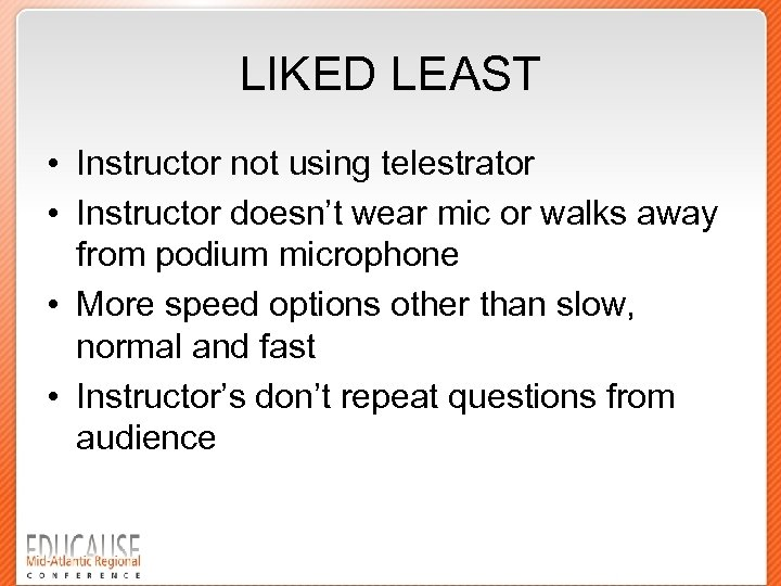 LIKED LEAST • Instructor not using telestrator • Instructor doesn't wear mic or walks