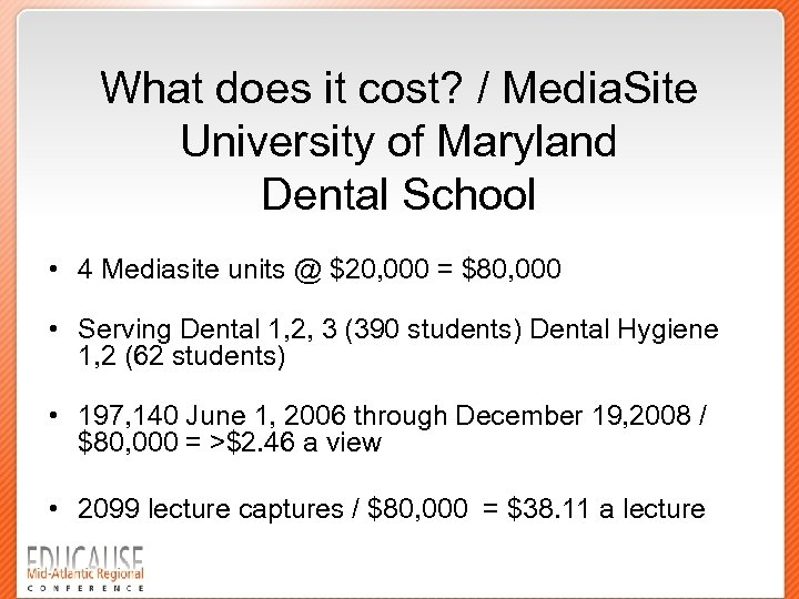 What does it cost? / Media. Site University of Maryland Dental School • 4