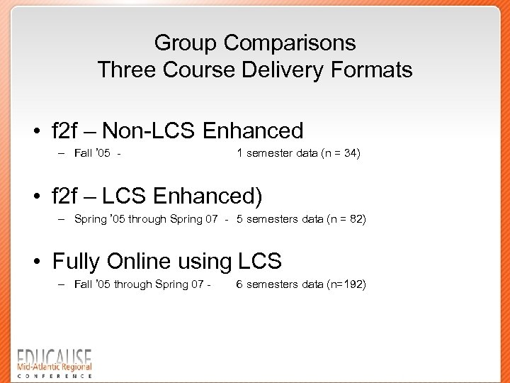 Group Comparisons Three Course Delivery Formats • f 2 f – Non-LCS Enhanced –