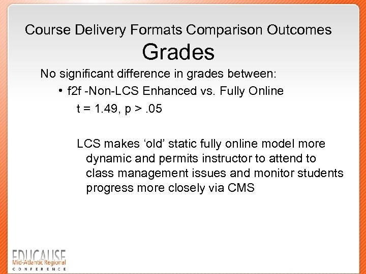 Course Delivery Formats Comparison Outcomes Grades No significant difference in grades between: • f