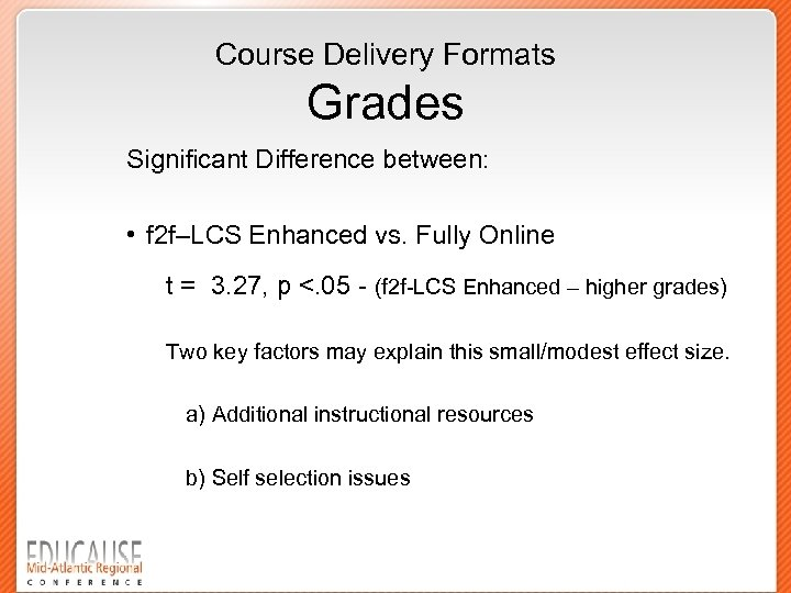 Course Delivery Formats Grades Significant Difference between: • f 2 f–LCS Enhanced vs. Fully