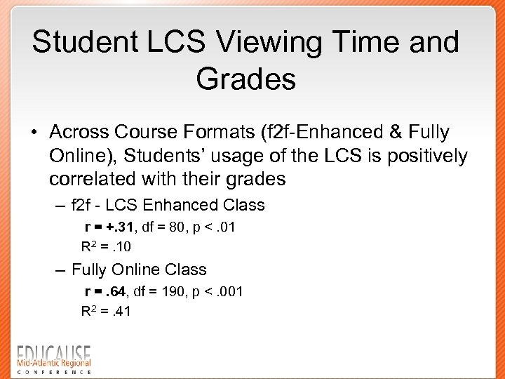 Student LCS Viewing Time and Grades • Across Course Formats (f 2 f-Enhanced &
