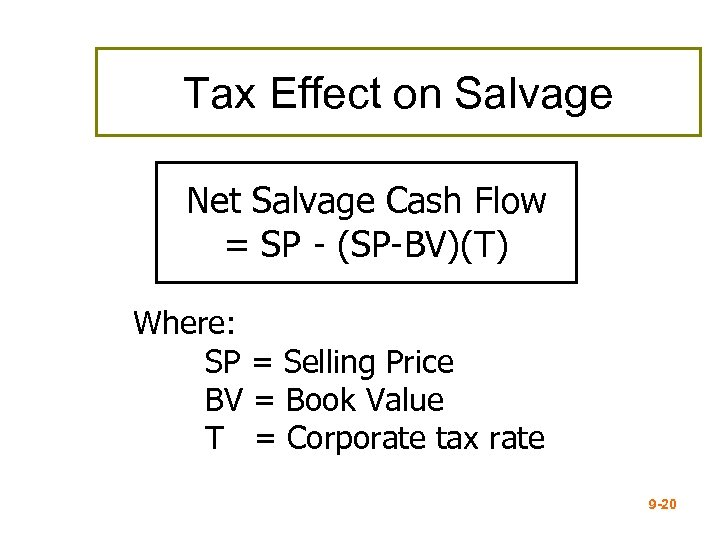 Tax Effect on Salvage Net Salvage Cash Flow = SP - (SP-BV)(T) Where: SP