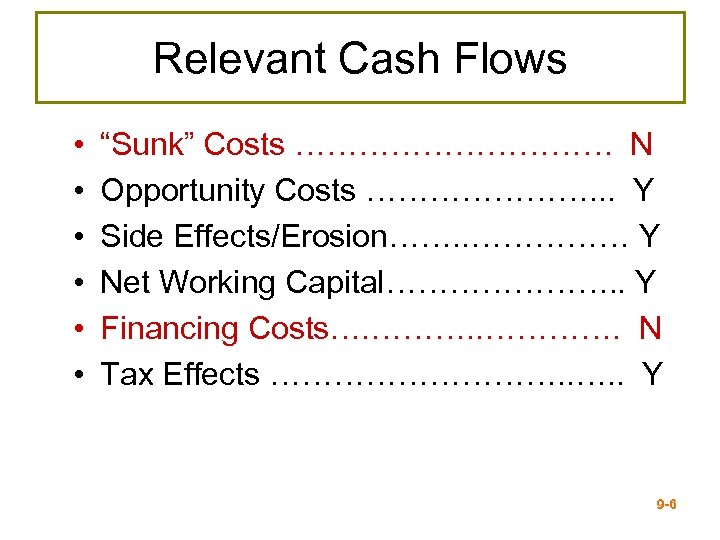 """Relevant Cash Flows • • • """"Sunk"""" Costs …………… N Opportunity Costs …………………. ."""
