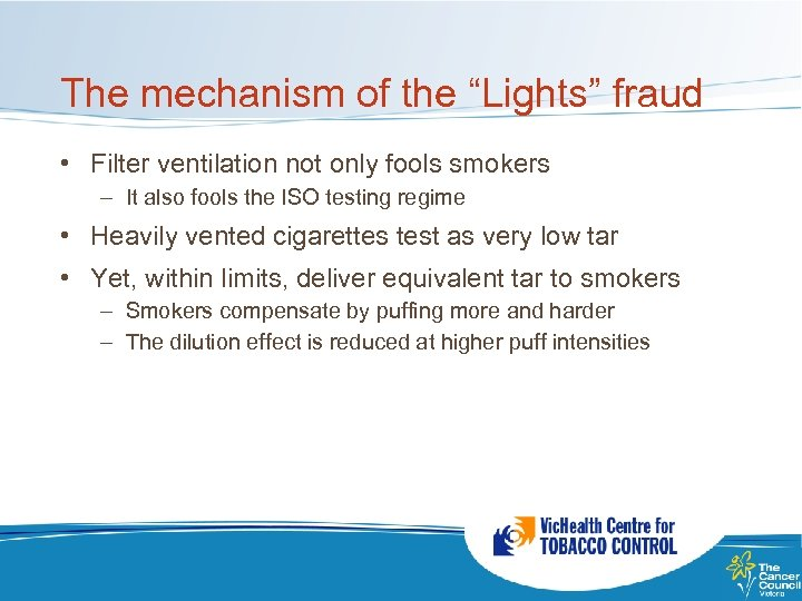 "The mechanism of the ""Lights"" fraud • Filter ventilation not only fools smokers –"