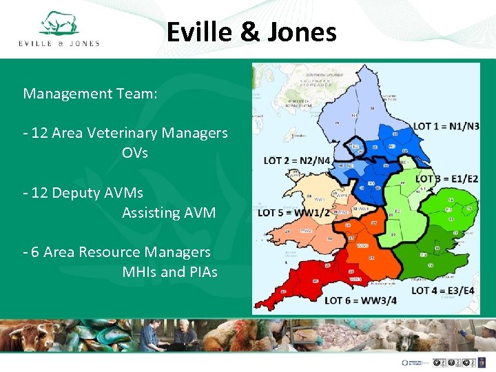 Eville & Jones Management Team: - 12 Area Veterinary Managers OVs - 12 Deputy