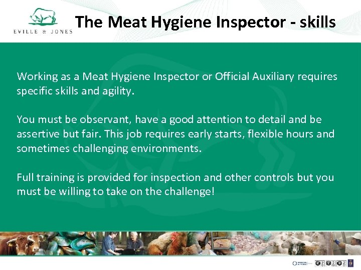 The Meat Hygiene Inspector - skills Working as a Meat Hygiene Inspector or Official