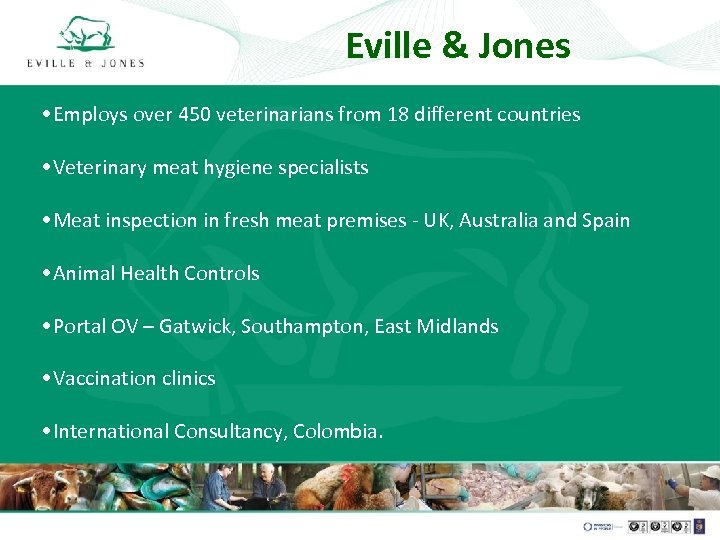 Eville & Jones • Employs over 450 veterinarians from 18 different countries • Veterinary