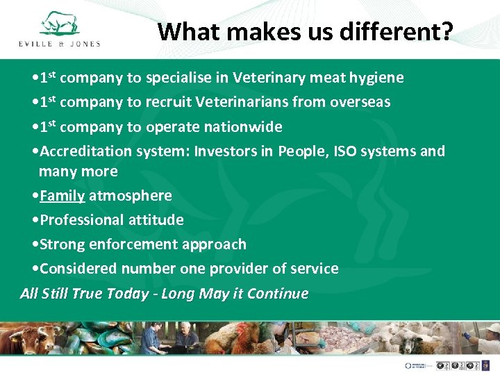 What makes us different? • 1 st company to specialise in Veterinary meat hygiene
