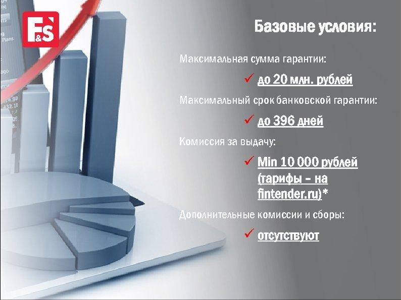 Базовые условия: Максимальная сумма гарантии: ü до 20 млн. рублей Максимальный срок банковской гарантии:
