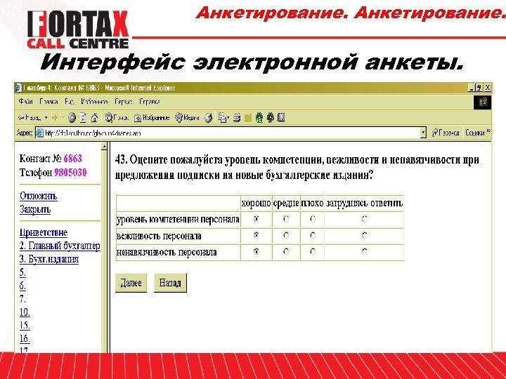 Анкетирование. Интерфейс электронной анкеты.
