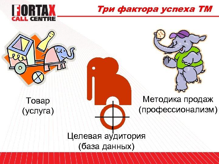 Три фактора успеха ТМ Товар (услуга) Методика продаж (профессионализм) Целевая аудитория (база данных)