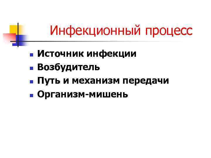 Инфекционный процесс n n Источник инфекции Возбудитель Путь и механизм передачи Организм-мишень