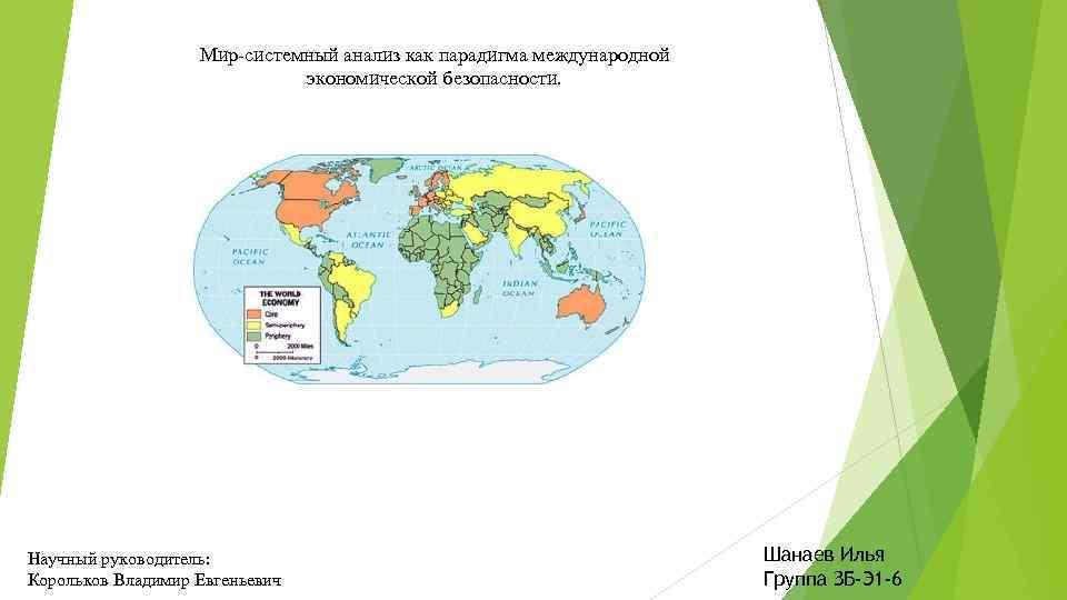 Мир-системный анализ как парадигма международной экономической безопасности. Научный руководитель: Корольков Владимир Евгеньевич Шанаев Илья